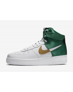"NBA x Nike Air Force 1 High ""Celtics"" (Blancas/Verde/Oro) BQ4591-100"