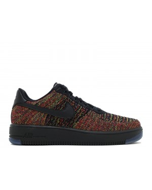 Nike Hombre Air Force 1 Ultra Flyknit Low (Negras/Bright Crimson) 817419-001