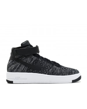 Nike Hombre AF1 Ultra Flyknit Mid (Negras/Negras/Blancas) 817420-004