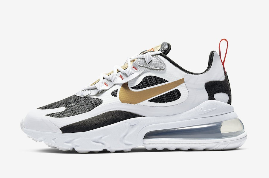 Nike Air Max 270 React (Blancas/Negras/Oro metalizado) CT3433-001