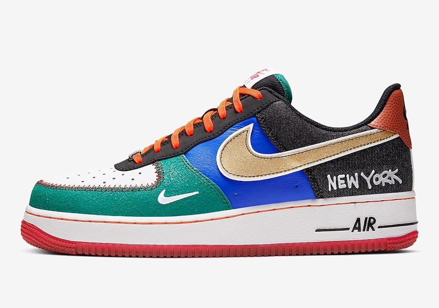 "Nike Air Force 1 Low ""What The NYC"" (Blancas/Negras/Naranjas/Azul) CT3610-100"