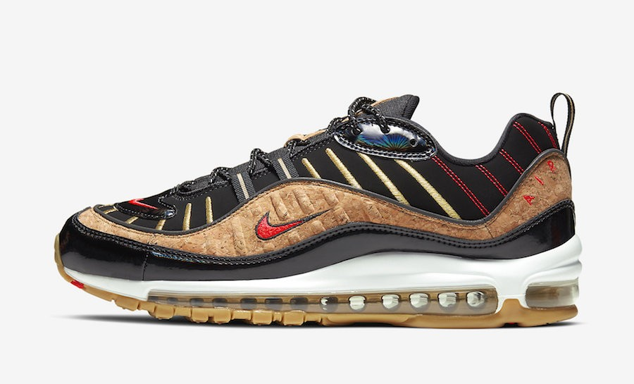 "Nike Air Max 98 ""New Years"" (Negras/Rojas/Gum) CT1173-001"