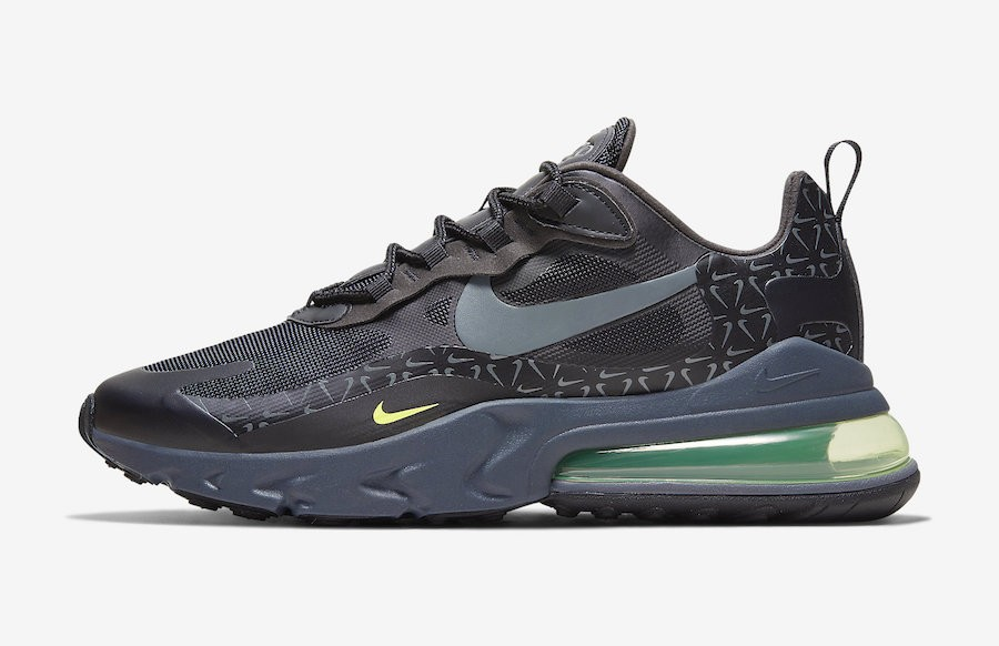 "Nike Air Max 270 React ""Just Do It"" (Grises claro/Volt/Negras) CT2538-001"
