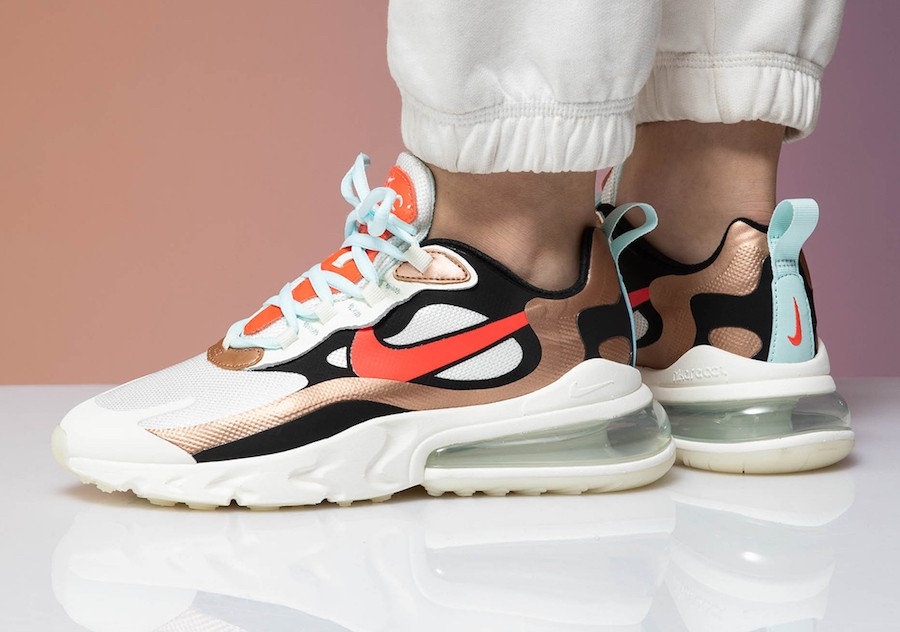 Nike Mujer Air Max 270 React (Sail/Negras/Metallic Bronze/Pure Platinum) CT3428-100