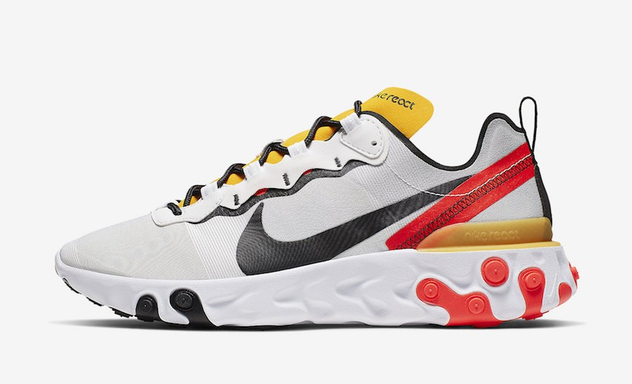 Nike React Element 55 (Blancas/Negras-Amarillas-Bright Crimson) BQ6166-102