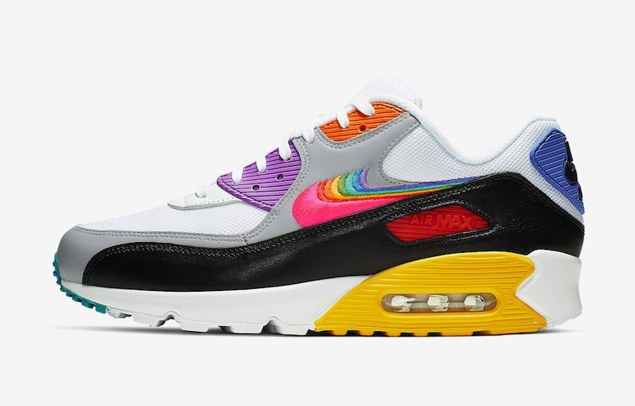 "Nike Air Max 90 ""Be True"" (Blancas/Multicolor-Negras-Grises) CJ5482-100"