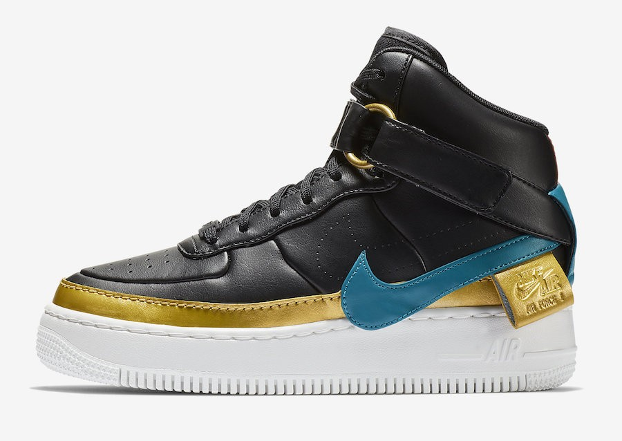 Nike Mujer Air Force 1 Jester Hi XX (Negras/Blustery/Metallic Gold) AR0625-001