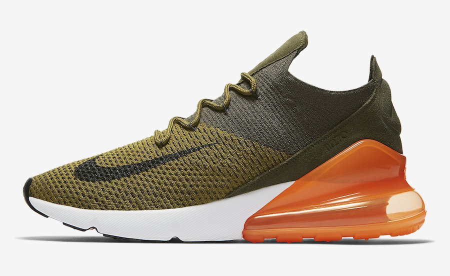 Nike Air Max 270 Flyknit (Olive Verde/Negras/Naranjas) AO1023-301