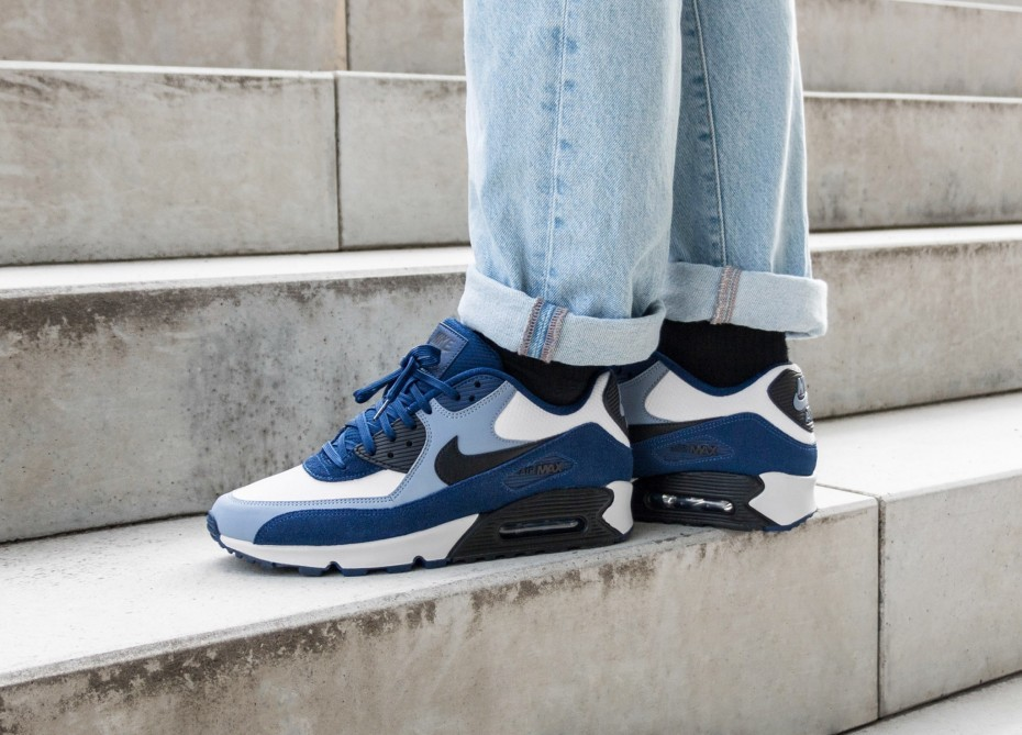 Nike Air Max 90 Leather (Azul/Negras/Ashen Slate) 302519-400
