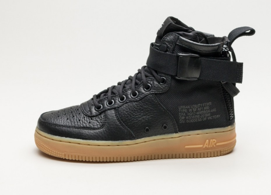 Nike Mujer SF Air Force 1 Mid (Negras/Negras/Marrones) AA3966-002
