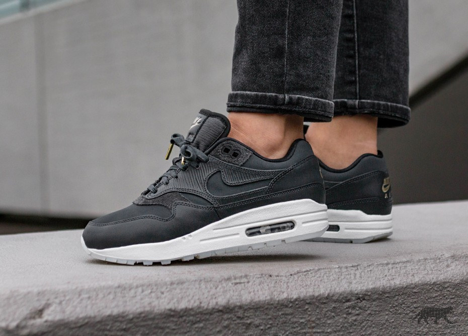 Nike Mujer Air Max 1 PRM (Anthracite/Negras/Blancas) 454746-016