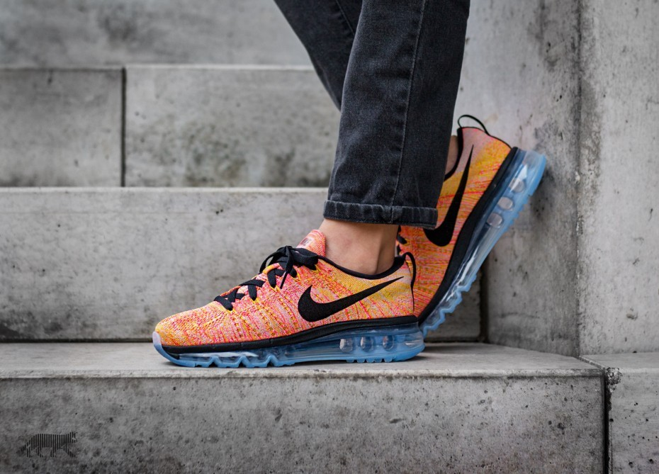 Nike Mujer Flyknit Max (Hot Punch/Aluminum/Negras) 620659-406