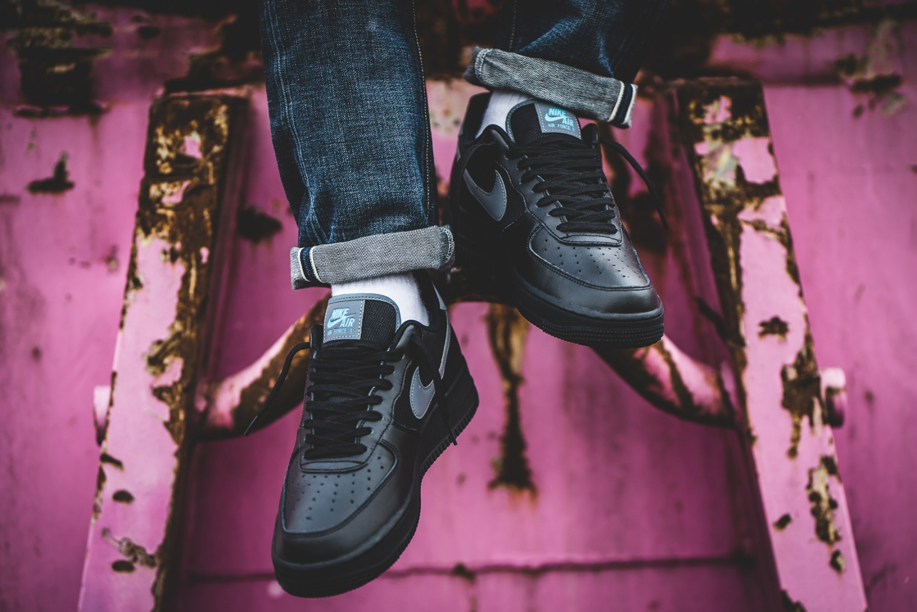 Nike Air Force 1 Low (Negras/Azul claro) BV1278-001