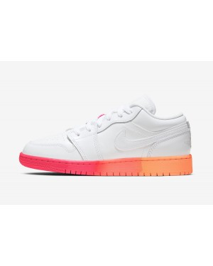 Air Jordan 1 Low GS (Blancas/Bright Crimson/Bright Mango) 554723-100
