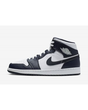 Air Jordan 1 Mid (Blancas/Obsidian-Metallic Gold) 554724-174
